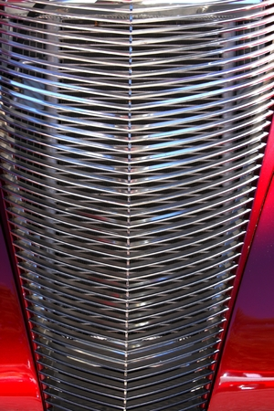 Abstract chrome old timer car grill. Stock Photo