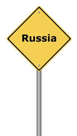 risky: Yellow warning sign with the text Russia. Stock Photo