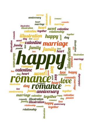 Happy word and tag cloud on white background  photo