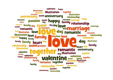 Love word and tag cloud on white background  photo