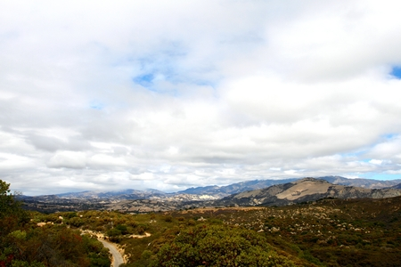 View of the Cachuma Mountains near Santa Barbara with a cloudy sky.