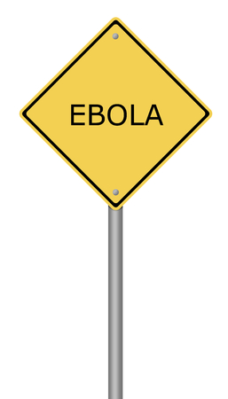 infected: Yellow warning sign with the text EBOLA on white background.