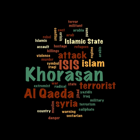 KHORASAN, ISIS and Al Qaeda word cloud on white background. Stock Photo