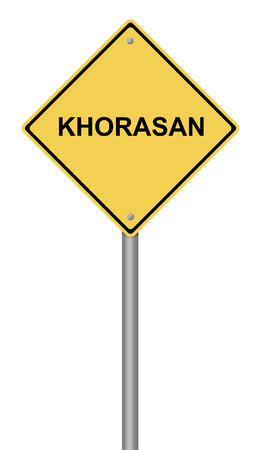 Yellow warning sign with the text KHORASAN on white background.