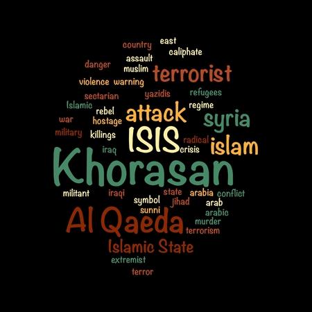 militant: KHORASAN, ISIS and Al Qaeda word cloud on white background. Stock Photo