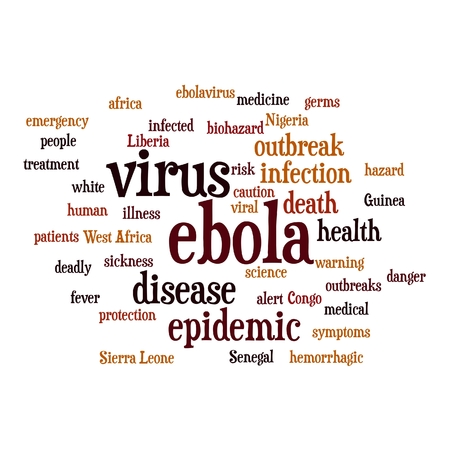 yellow fever: Ebola virus word cloud on white background. Stock Photo