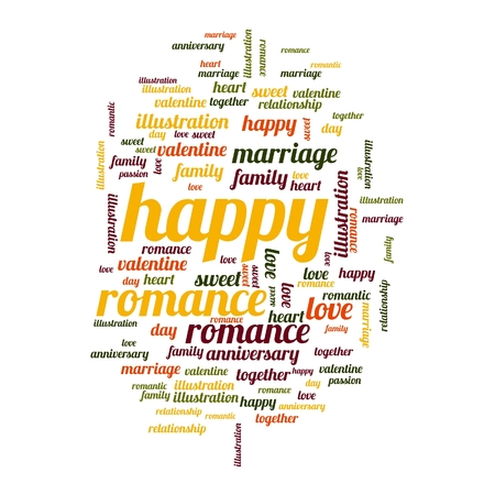 Happy word and tag cloud on white background. photo