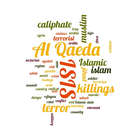 sectarian: ISIS and Al Qaeda word cloud on white background. Stock Photo