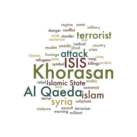 sectarian: KHORASAN, ISIS and Al Qaeda word cloud on white background. Stock Photo