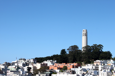 Coit Tower viewed from Lombard Street in San Francisco, California