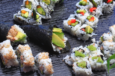 Healthy very popular Japanese food sushi. photo