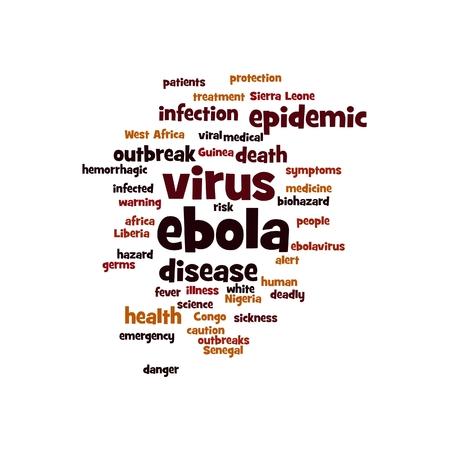Ebola virus word cloud on white background. photo