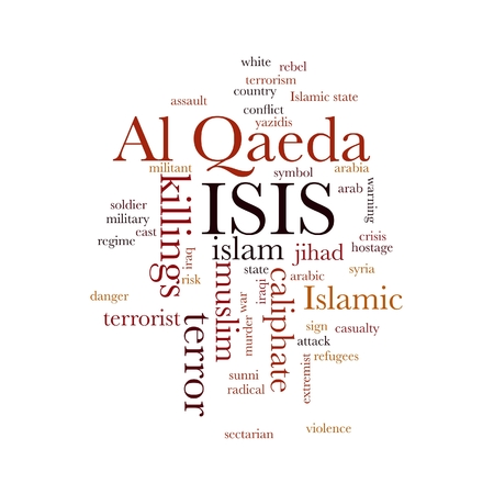 ISIS and Al Qaeda word cloud on white background. photo