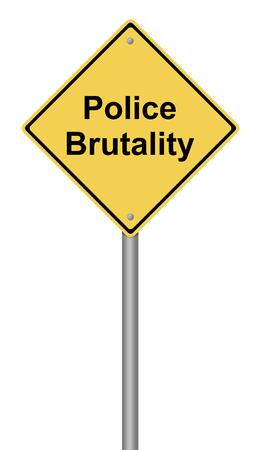 warning against a white background: Yellow warning sign with the text Police Brutality.