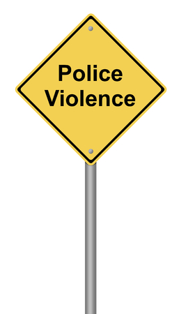 warning against a white background: Yellow warning sign with the text Police Violence.