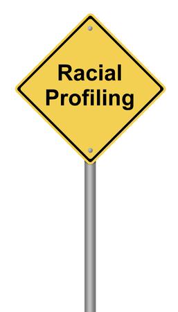 인종 프로파일 링 텍스트와 함께 노란색 경고 기호.