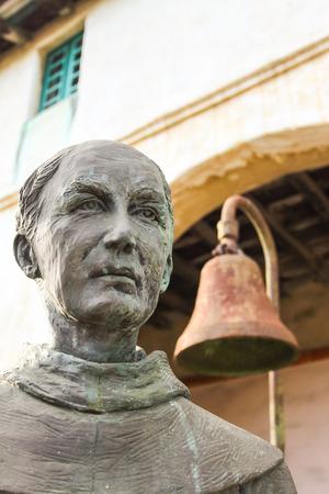 Junipero Serra Ferrer in front of the Santa Barbara Mission.