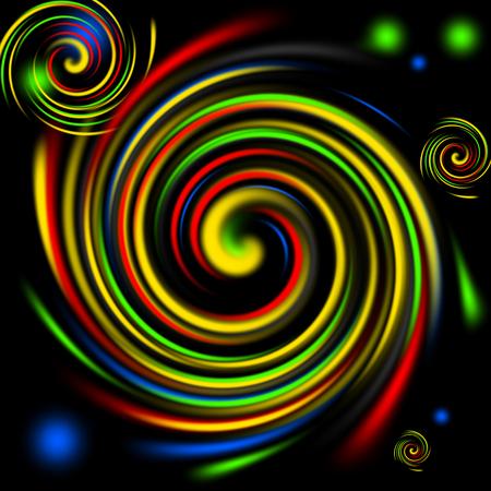 multi: Multi color swirls background on black. Stock Photo