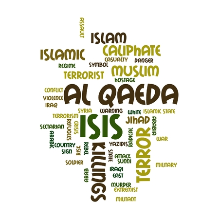 iraq conflict: ISIS and Al Qaeda word cloud on white background. Stock Photo