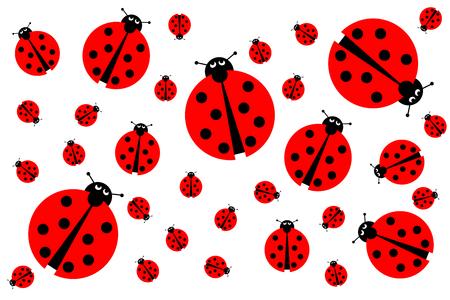 Background image with many different sized ladybugs on white background.
