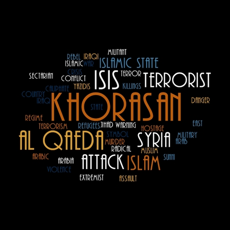 caliphate: KHORASAN, ISIS and Al Qaeda word cloud on white background. Stock Photo