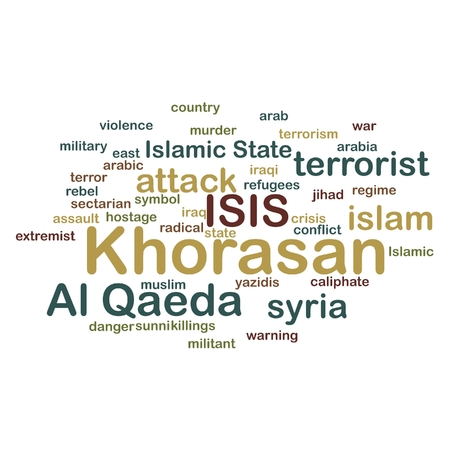 al: KHORASAN, ISIS and Al Qaeda word cloud on white background. Stock Photo