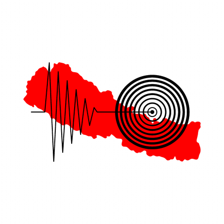 seismology: Red map of Nepal with a tremore illustration over it.