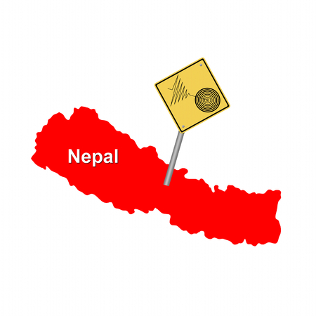 seismology: Red map of Nepal with a tremore warning sign.