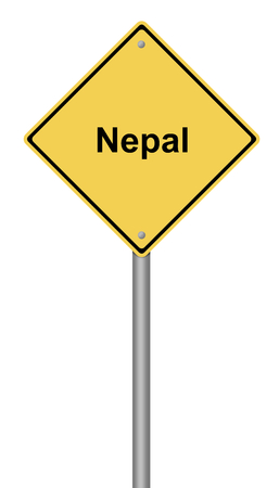 seismology: Yellow warning sign with the writing Nepal on whiate background.