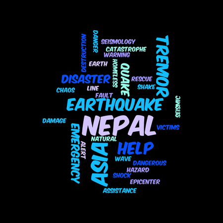 quake: Neap Earthquake Tremore word salad cloud illustration. Stock Photo