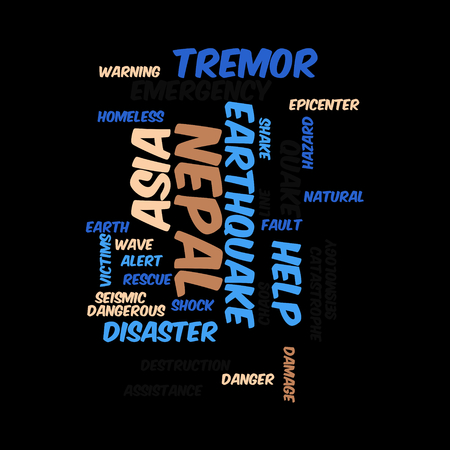 Neap Earthquake Tremore word salad cloud illustration. Фото со стока - 40041658