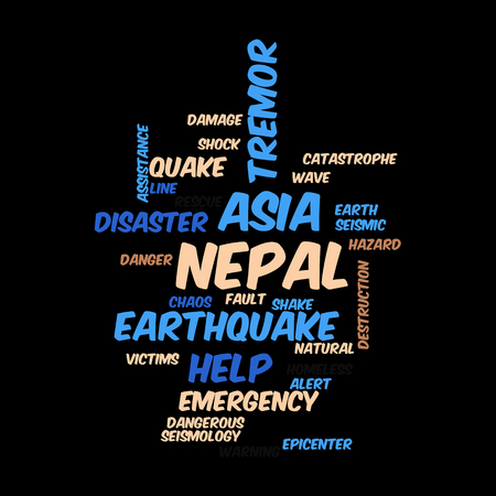 seismology: Neap Earthquake Tremore word salad cloud illustration. Stock Photo