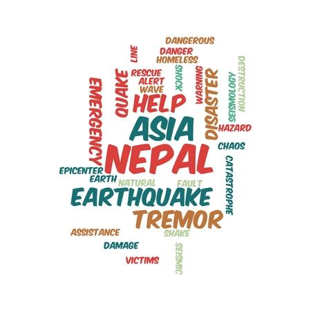 Neap Earthquake Tremore word salad cloud illustration. Фото со стока