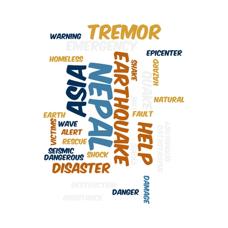 Neap Earthquake Tremore word salad cloud illustration. Фото со стока - 40041662