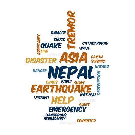 Neap Earthquake Tremore word salad cloud illustration. Zdjęcie Seryjne