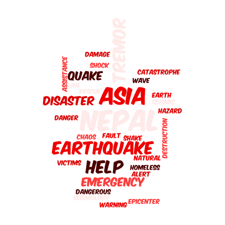Neap Earthquake Tremore word salad cloud illustration. Stock Photo