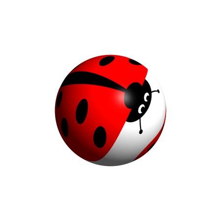 cartoon ladybug: A ladybug globe looking down on white background. Stock Photo