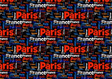 massacre: Wordcloud with the words Paris France Terror on black background.