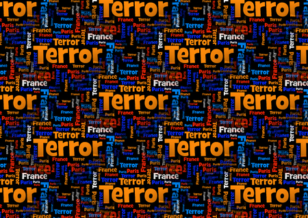 terror: Wordcloud with the words Paris France Terror on black background.