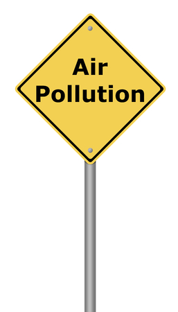 harmful to the environment: Yellow warning sign with the writing Air Pollution on whiate background.