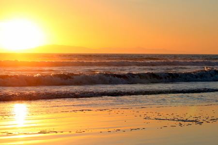Sunset over the Pacific Ocean in Ventura California.