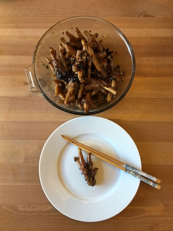 Chinese spicy chicken feet ready to eat.