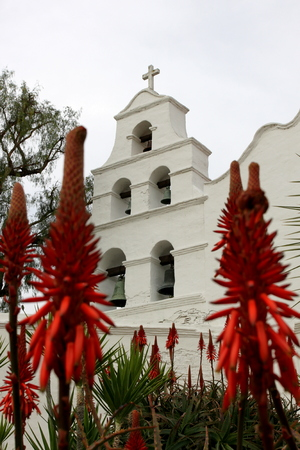 Outside shot of the San Diego Mission Basilica. Stock Photo
