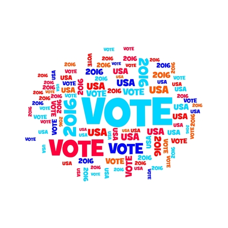 Red white and blue vote USA 2016 sign. Stock Photo