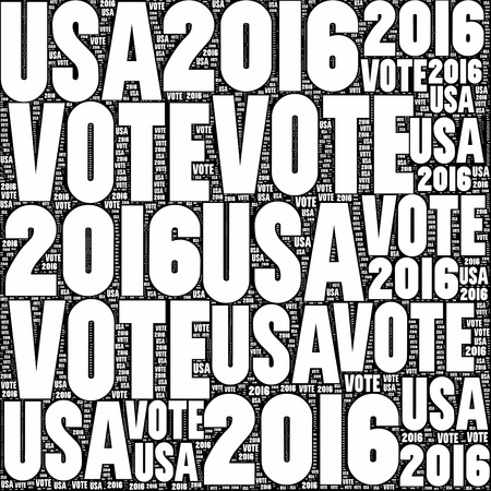 tally: Black and white VOTE USA 2016 sign.