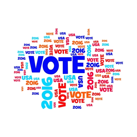 voted: Red white and blue vote USA 2016 sign. Stock Photo