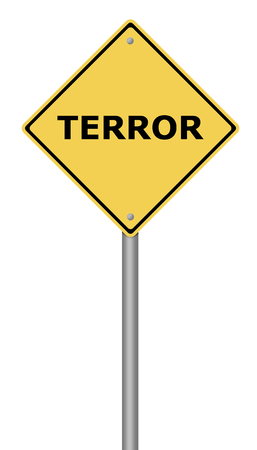 Yellow warning sign with the text Terror. Stock Photo