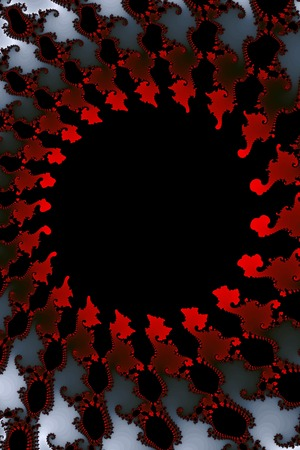 Fractal background with the colors red white black.