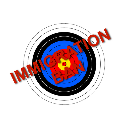 detained: Sport target illustration with the text Immigration Ban.