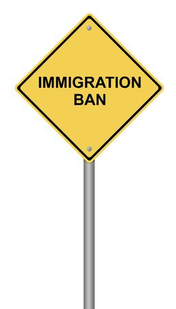 이민 금지 텍스트와 노란색 경고 기호. 스톡 콘텐츠